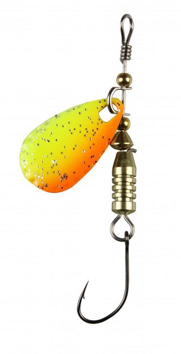 FTM Forellen Blinker 4g Gelb Orange Glitter / Schwarz