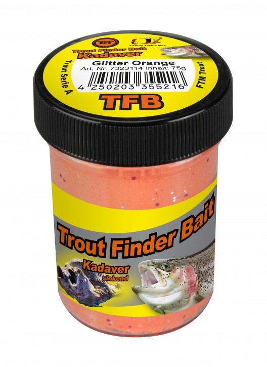 Trout Finder Bait Forellenteig Kadaver Glitter Orange Sinkend