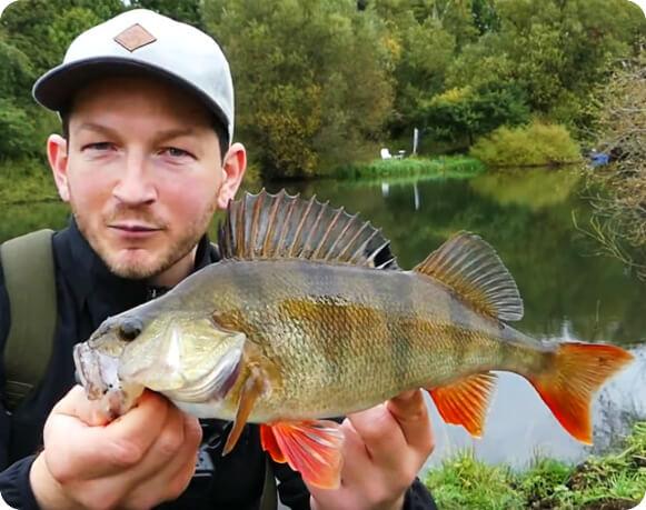 Domenic von Fishing Team Heileit mit Barsch