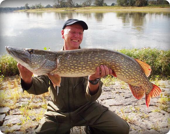 Zufriedener Angler mit Hecht